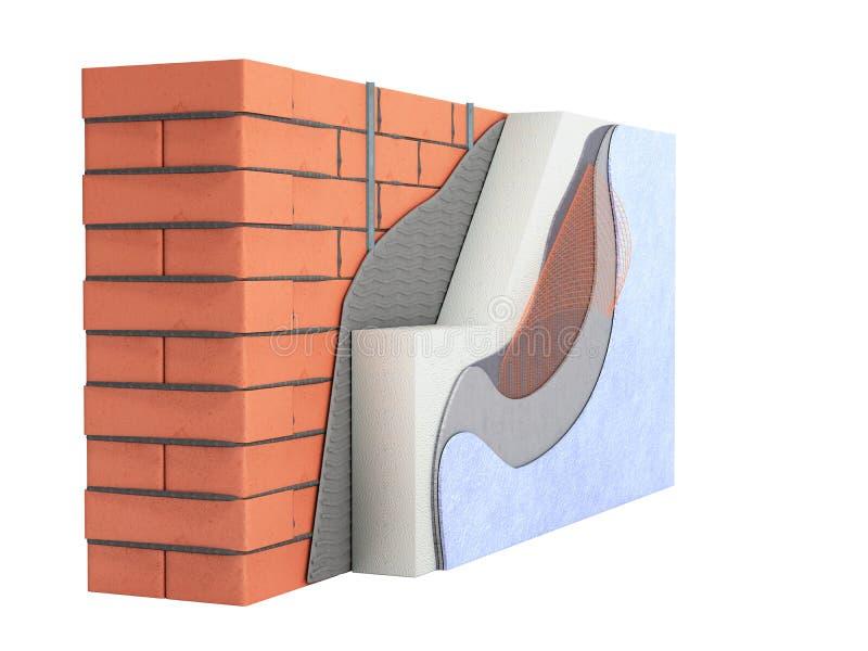 Concepto acodado 3d del aislamiento t?rmico de la pared de ladrillo no rendir en blanco ninguna sombra stock de ilustración