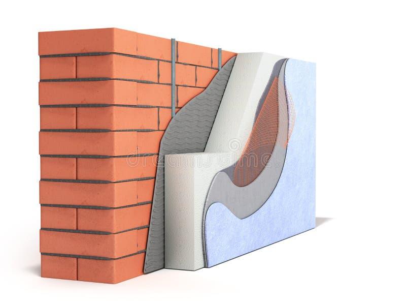 Concepto acodado 3d del aislamiento t?rmico de la pared de ladrillo rendir en el fondo blanco stock de ilustración