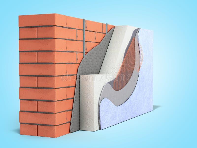 Concepto acodado 3d del aislamiento térmico de la pared de ladrillo rendir en fondo azul de la pendiente ilustración del vector