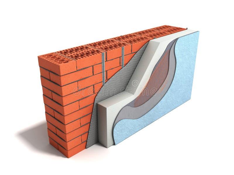 Concepto acodado 3d del aislamiento t?rmico de la pared de ladrillo rendir en el fondo blanco ilustración del vector