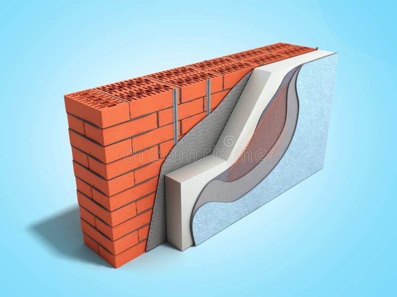 Concepto acodado 3d del aislamiento t?rmico de la pared de ladrillo rendir en fondo azul de la pendiente libre illustration