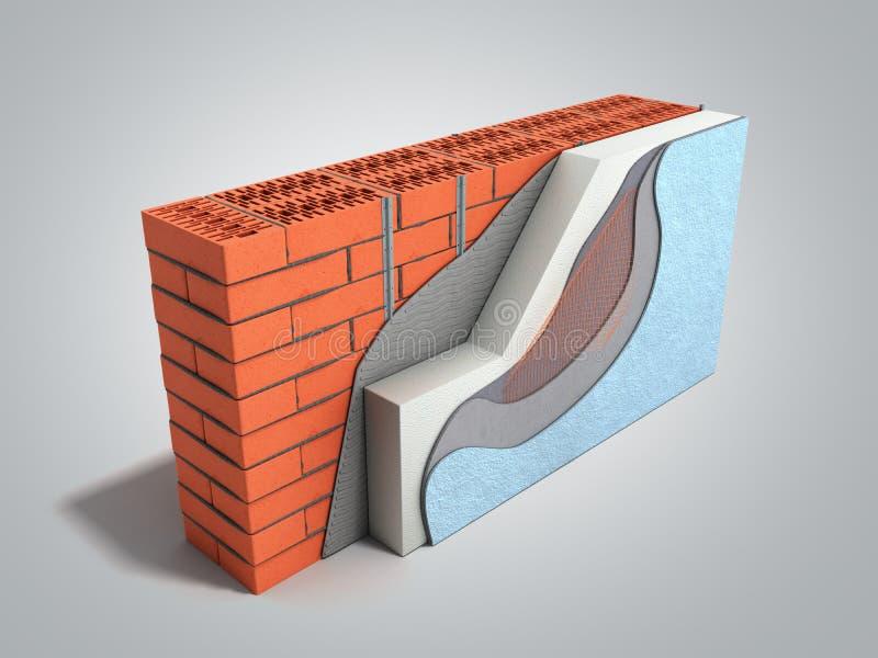Concepto acodado 3d del aislamiento t?rmico de la pared de ladrillo rendir en fondo gris de la pendiente stock de ilustración