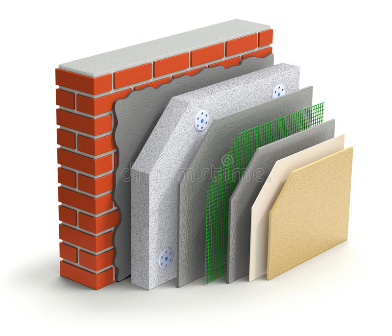 Concepto acodado del aislamiento térmico de la pared de ladrillo ilustración del vector