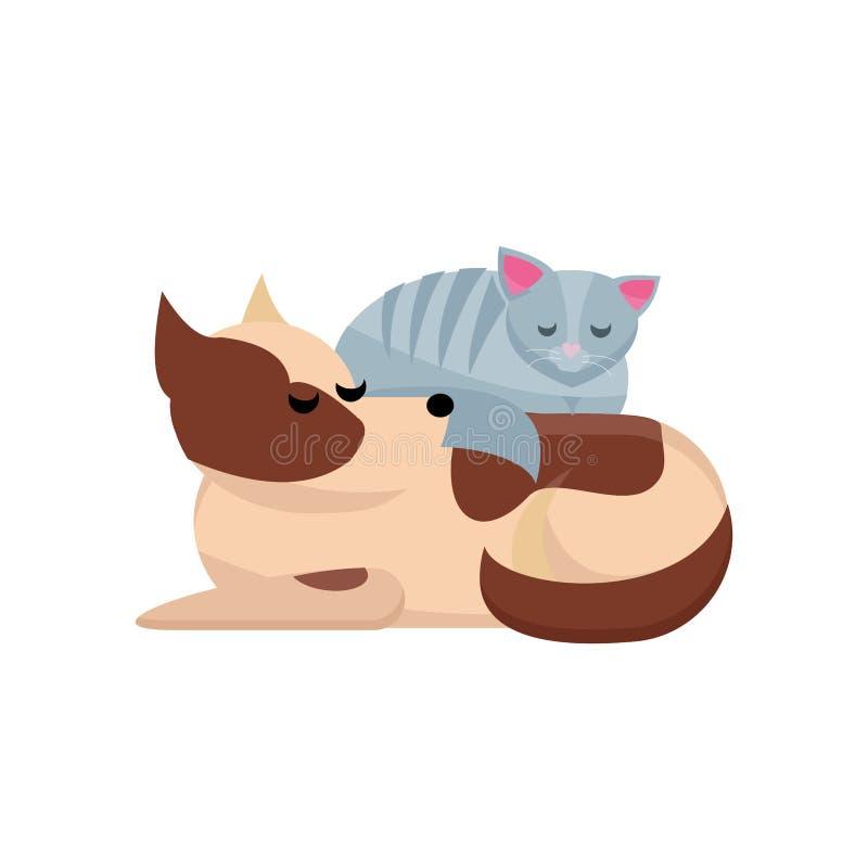 Concepto acogedor de los amigos del animal doméstico Sleaps grises del gato en perro Perro y gato junto El perro divertido con el stock de ilustración