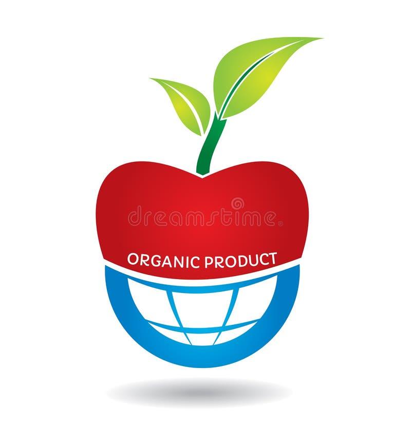 Concepto agrícola, manzana orgánica stock de ilustración