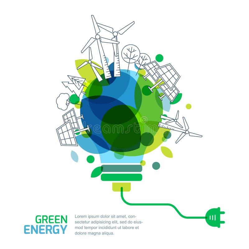 Concepto ahorro de energía ilustración del vector