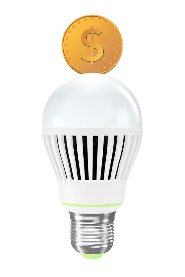 Concepto ahorro de energía Bulbo llevado con la moneda de oro fotos de archivo libres de regalías