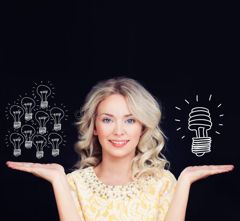 Concepto ahorro de energía Mujer con tradicional imagen de archivo libre de regalías