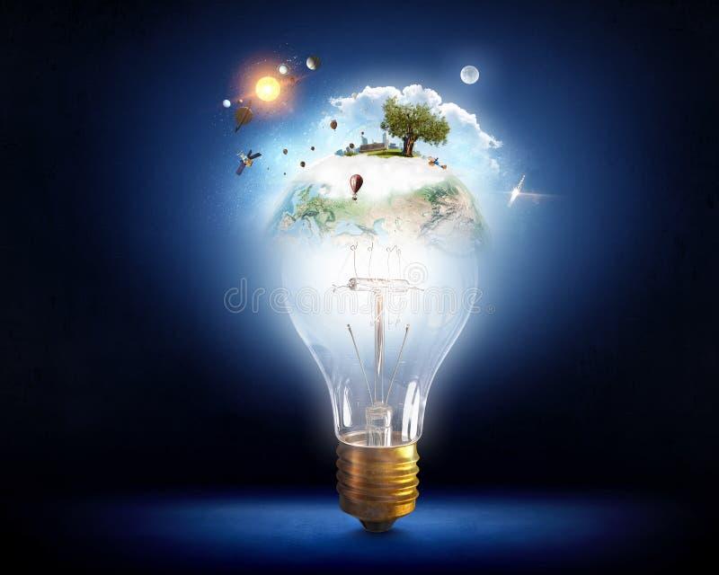 Concepto ahorro de energía Técnicas mixtas fotos de archivo libres de regalías