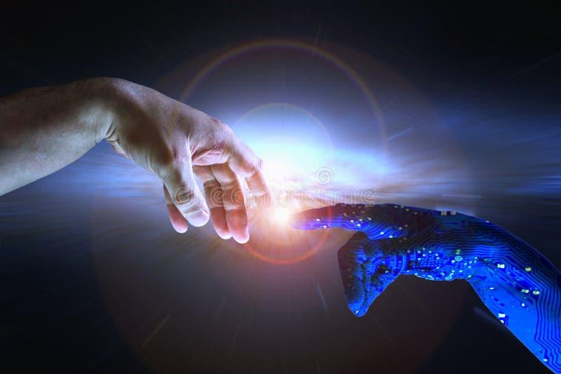Concepto AI de la inteligencia artificial y humanidad imagen de archivo