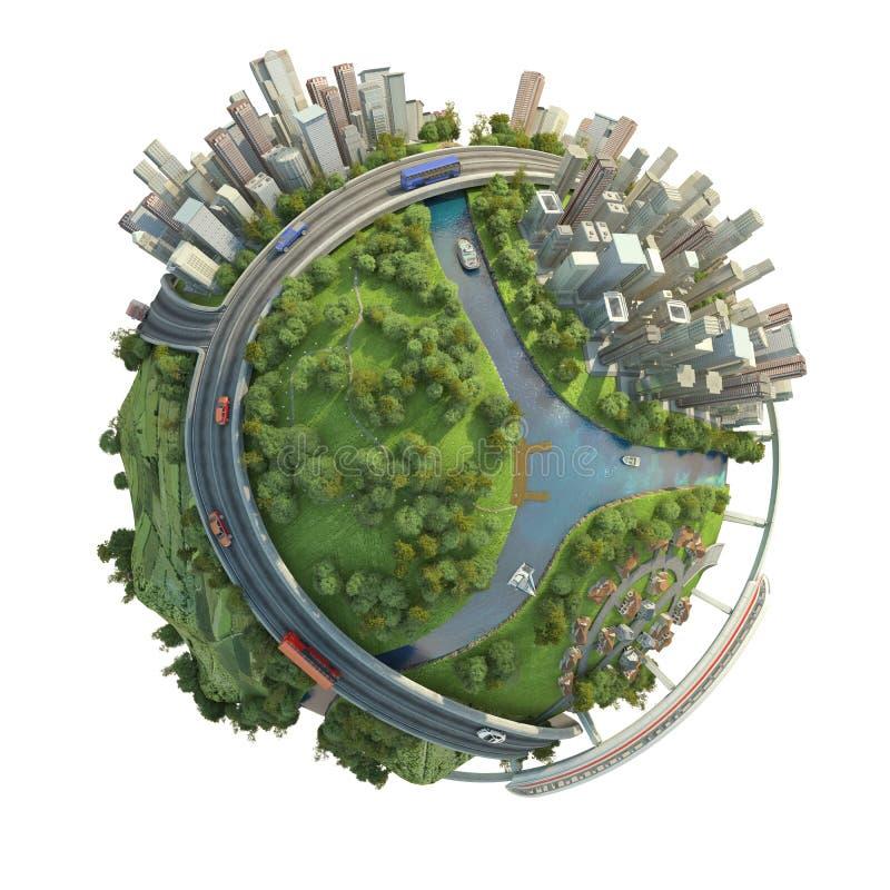 Concepto aislado de globo miniatura ilustración del vector