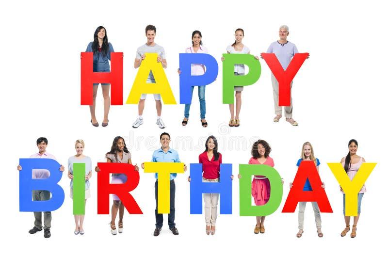 Concepto alegre feliz de la celebración del feliz cumpleaños fotos de archivo libres de regalías