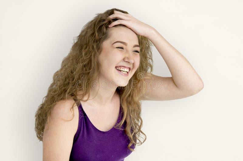 Concepto alegre sonriente de la mujer joven imagen de archivo libre de regalías
