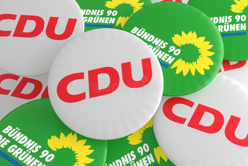 Concepto alemán de la política: Pila de botones con el logotipo de los partidos políticos CDU y de los verdes, ejemplo 3d stock de ilustración