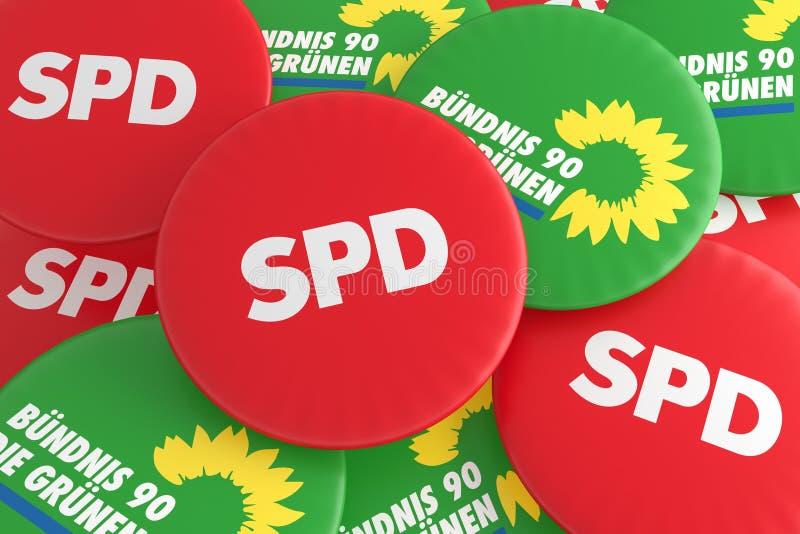 Concepto alemán de la política: Pila de botones con el logotipo de los partidos políticos SPD y de los verdes, ejemplo 3d stock de ilustración