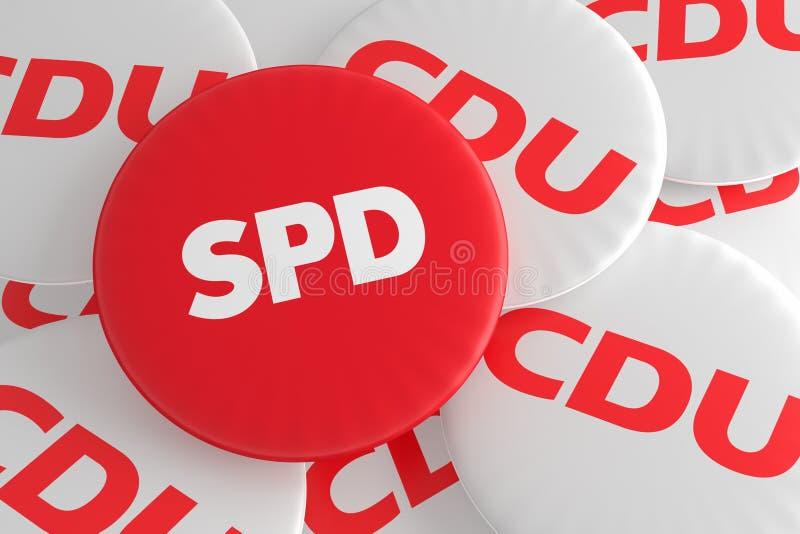 Concepto alemán de las insignias de la política de la elección: Pila de botones de CDU con el botón rojo del SPD, ejemplo 3d ilustración del vector