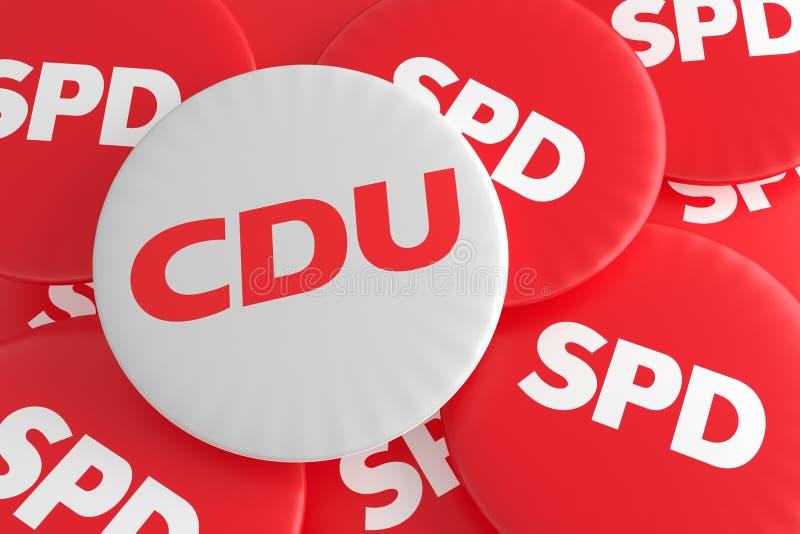 Concepto alemán de las insignias de la política de la elección: Pila de botones del SPD con el botón de CDU, ejemplo 3d ilustración del vector