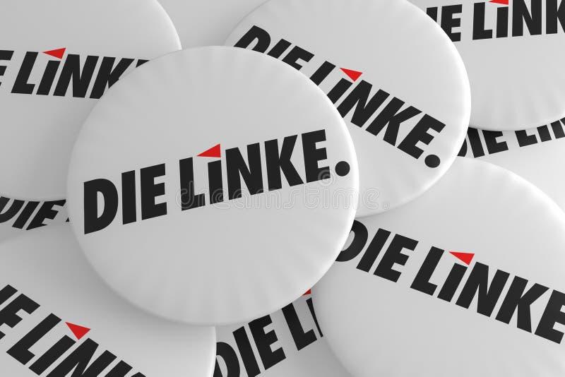 Concepto alemán de las insignias de la política de la elección: Pila de los botones izquierdos del partido, ejemplo 3d ilustración del vector
