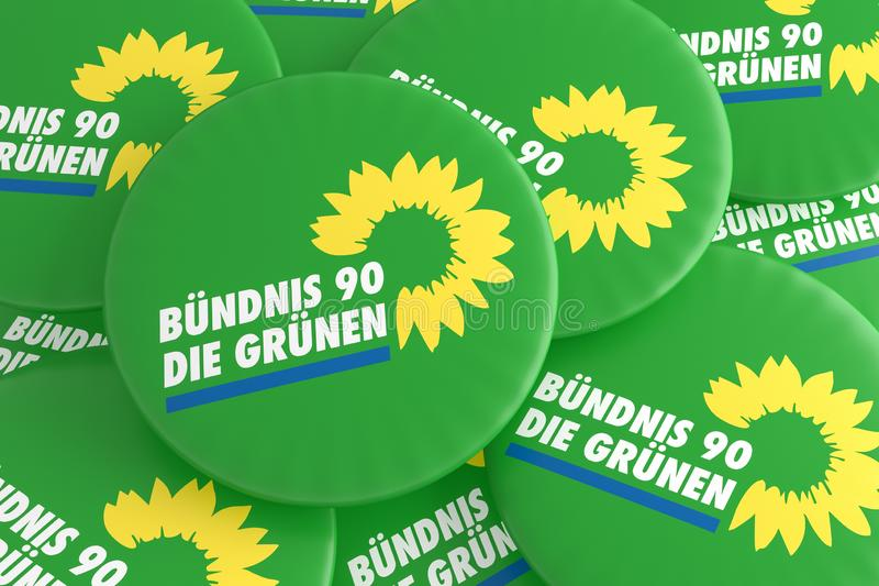 Concepto alemán de las insignias de la política de la elección: Pila de Partido Verde los botones de los verdes, ejemplo 3d libre illustration