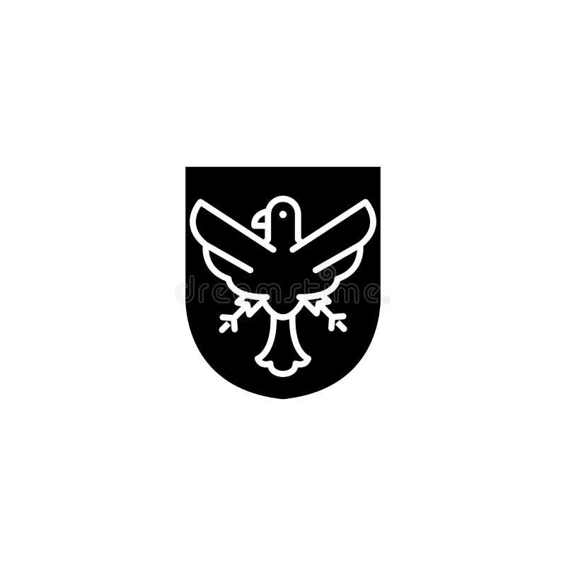 Concepto alemán del icono del negro del emblema del águila Símbolo plano del vector del emblema alemán del águila, muestra, ejemp libre illustration