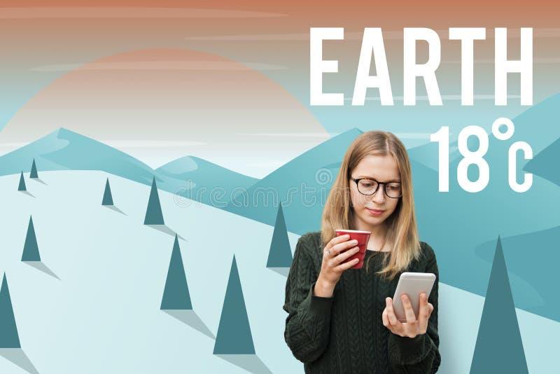 Concepto ambiental de la protección de la ecología del clima de la tierra imágenes de archivo libres de regalías