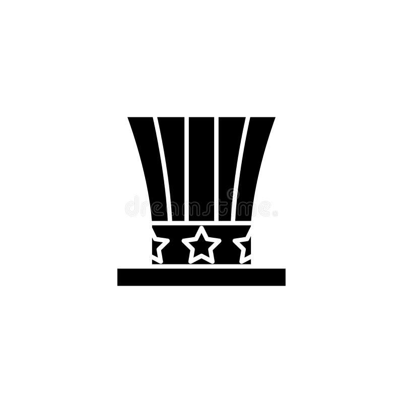 Concepto americano del icono del negro del sombrero Símbolo plano del vector del sombrero americano, muestra, ejemplo stock de ilustración