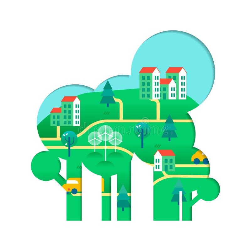 Concepto amistoso del árbol de Eco con la ciudad verde ilustración del vector