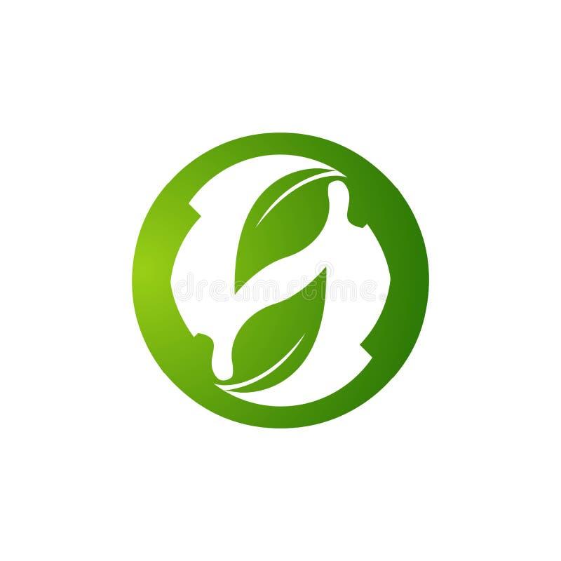 Concepto amistoso del vector del logotipo de Eco Limpie el mundo verde Plantilla gráfica del icono del verde de Eco Energía del v ilustración del vector