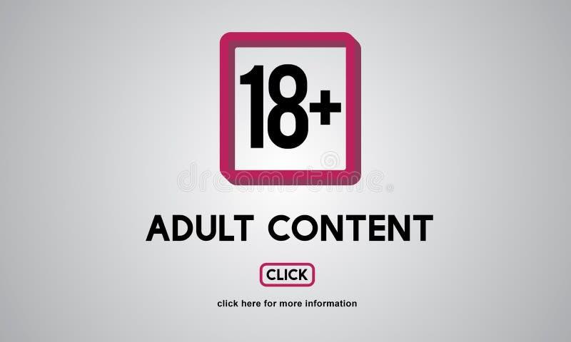 Concepto amonestador contento explícito adulto más dieciocho stock de ilustración