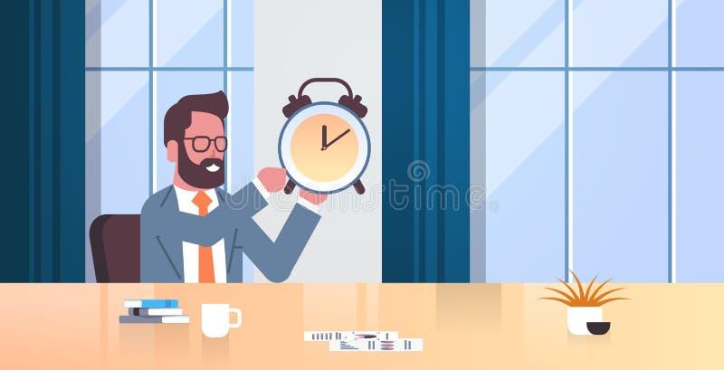 Concepto antiguo de la gestión de tiempo del plazo del escritorio del lugar de trabajo del hombre de negocios del reloj del homb stock de ilustración
