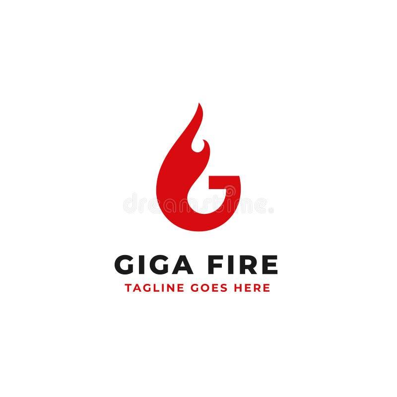 Concepto ardiente del ejemplo del fuego para el vector inicial del diseño del logotipo de G de la letra stock de ilustración