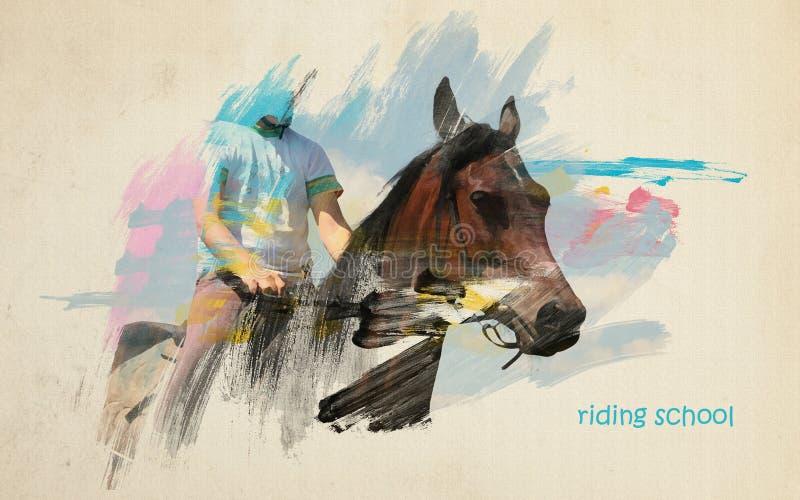 Concepto artístico de la escuela de montar a caballo ilustración del vector