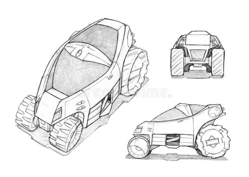 Concepto Art Drawing del lápiz de pequeño diseño campo a través futurista del coche stock de ilustración