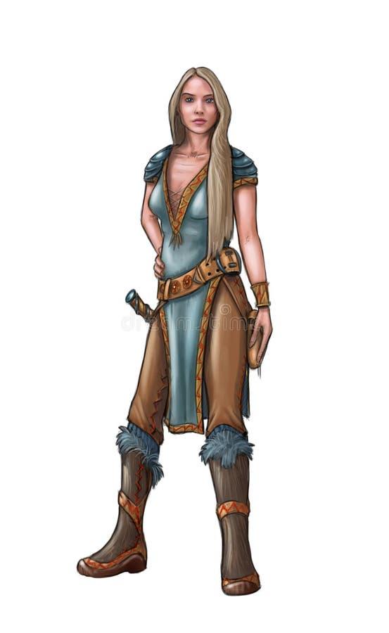 Concepto Art Fantasy Illustration de guerrero hermoso de la mujer joven ilustración del vector