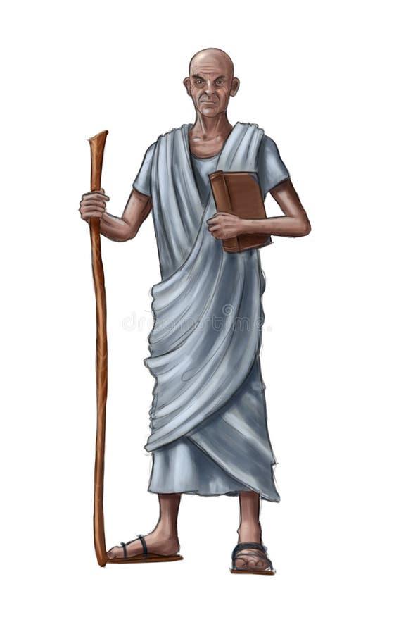 Concepto Art Fantasy Illustration de viejo hombre sabio o sacerdote o filósofo libre illustration