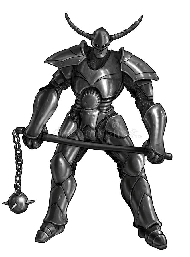 Concepto Art Fantasy Painting de caballero del guerrero en armadura y mayal llenos stock de ilustración