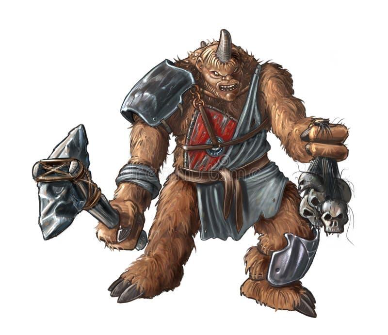 Concepto Art Fantasy Painting de criatura gigante del guerrero con el hacha de piedra stock de ilustración