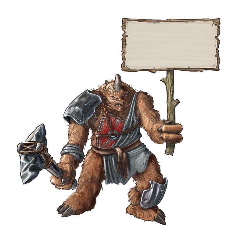 Concepto Art Fantasy Painting de criatura gigante del guerrero con la muestra vacía de la tenencia de piedra del hacha libre illustration