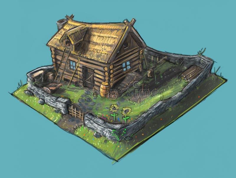 Concepto Art Painting de casa y de jardín de la cabaña ilustración del vector