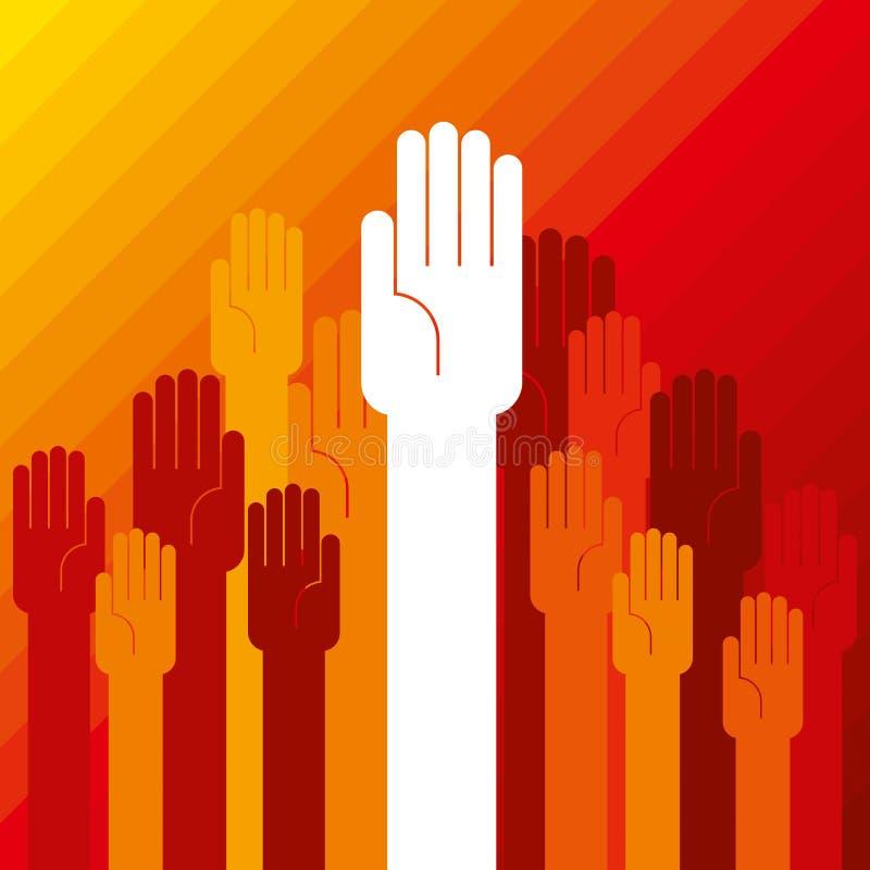 Concepto ascendente colorido de la mano de democracia libre illustration