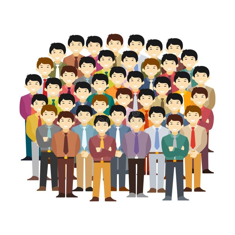 Concepto asiático del vector de la comunidad de los hombres en estilo plano libre illustration