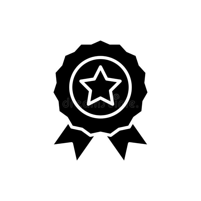 Concepto asignado del icono del negro de la recompensa Recompensa asignada símbolo plano del vector, muestra, ejemplo stock de ilustración