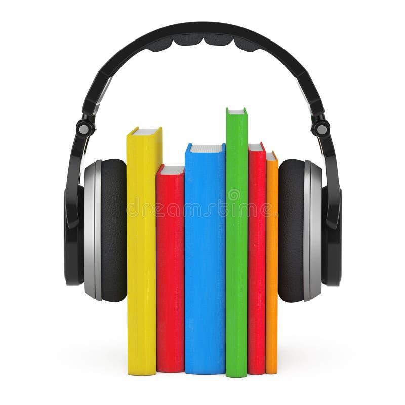 Concepto audio del libro Auriculares inalámbricos negros con los libros 3d ren stock de ilustración