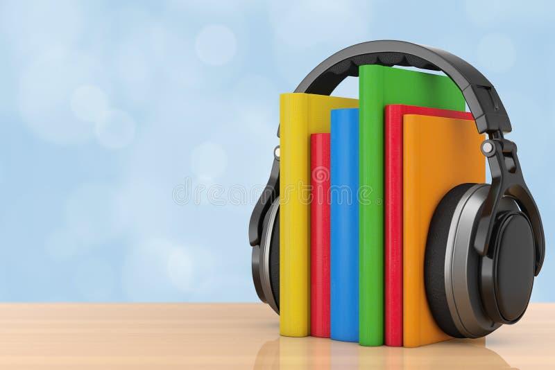 Concepto audio del libro Auriculares inalámbricos negros con los libros 3d ren ilustración del vector