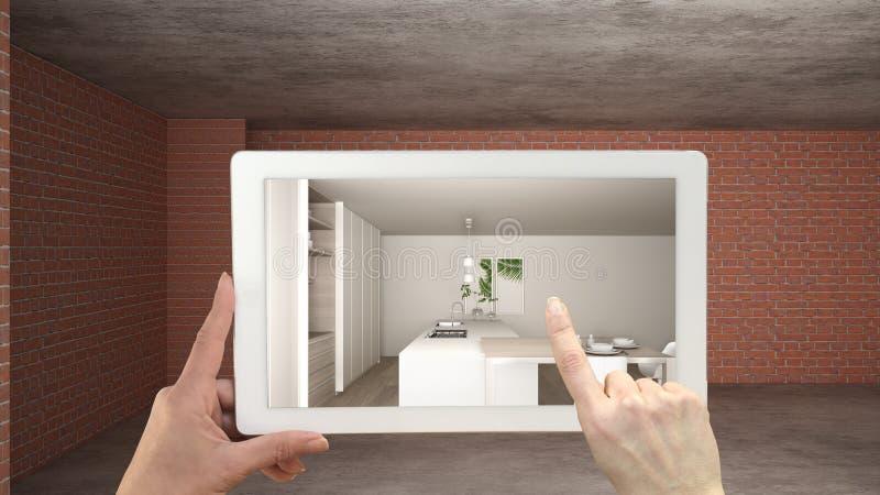 Concepto aumentado de la realidad La tableta de la tenencia de la mano con el uso de AR simulaba productos de los muebles y del d libre illustration