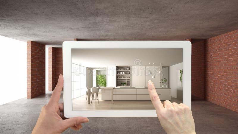 Concepto aumentado de la realidad La tableta de la tenencia de la mano con el uso de AR simulaba productos de los muebles y del d stock de ilustración