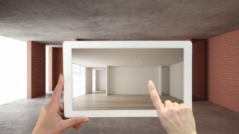 Concepto aumentado de la realidad La tableta de la tenencia de la mano con el uso de AR simulaba productos de los muebles y del d ilustración del vector