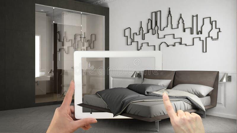 Concepto aumentado de la realidad Tableta de la tenencia de la mano con el uso de AR usado para simular productos de los muebles  ilustración del vector