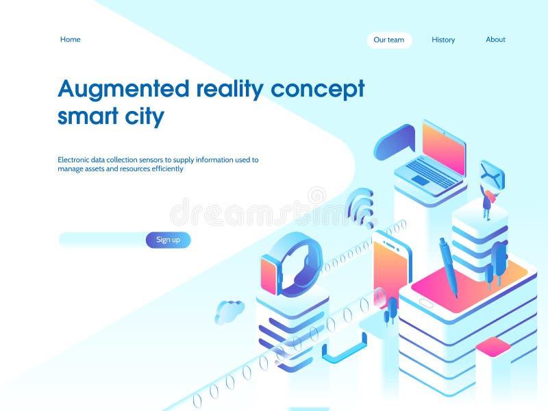 Concepto aumentado de la realidad Tecnología elegante de la ciudad Plantilla de aterrizaje de la página ejemplo isométrico del ve ilustración del vector