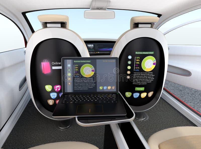 Concepto autónomo del interior del coche Pantalla del asiento y del ordenador portátil que muestran el mismo documento en modo de stock de ilustración